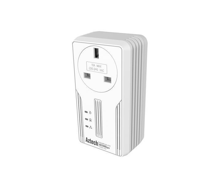 Aztech HL119EP 600Mbps with AC Pass-Through Smart Link HomePlug