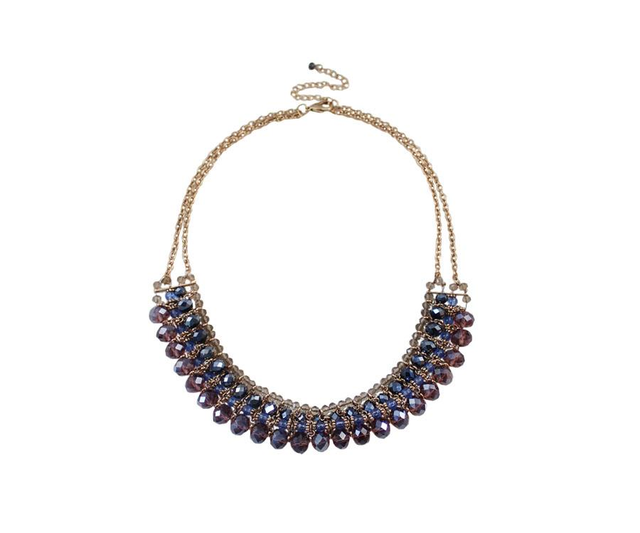 [Little B House]Glass Beaded Crystal Alloy Short Necklace - NL237