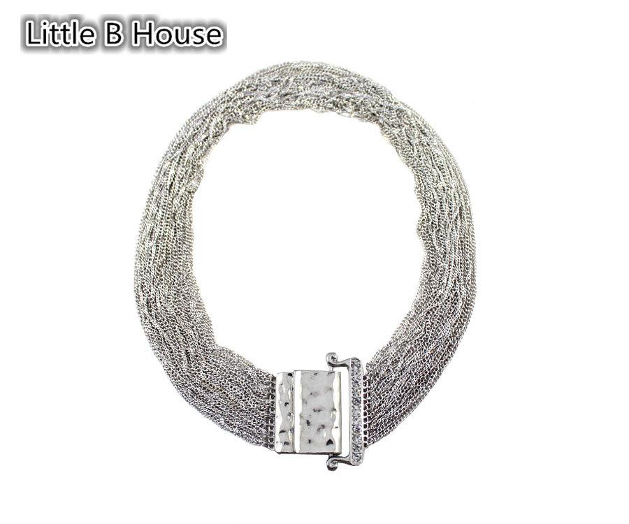 [Little B House] Multilayer Magnet Buckle Short Necklace Set - NL144
