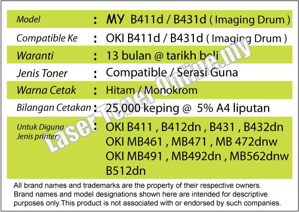 MY B411/B431 Drum Compatible-OKI B 411 431 MB 471 471w MB491 MB492dn
