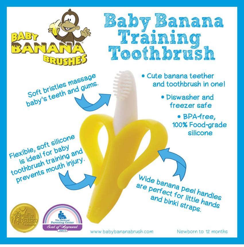 Baby Banana Infant Teething Toothbrush brain development toy YELLOW