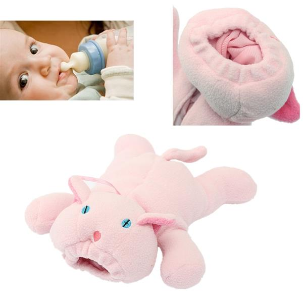 BABY BOOTLE COVER, PLUSH TOY HUGGER: PINK PIGGY
