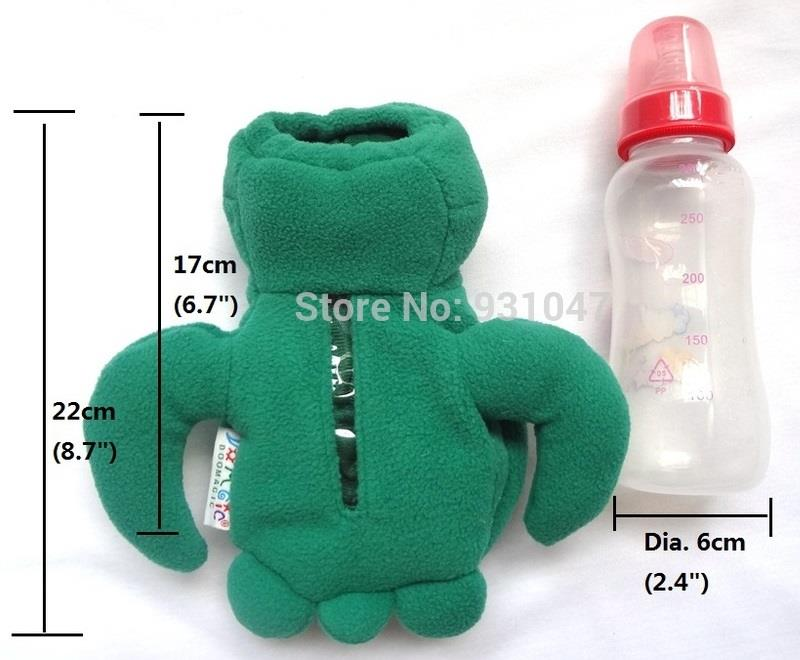 Baby Bottle Protector Cover / Warmer - Cute Plush Green Turtle