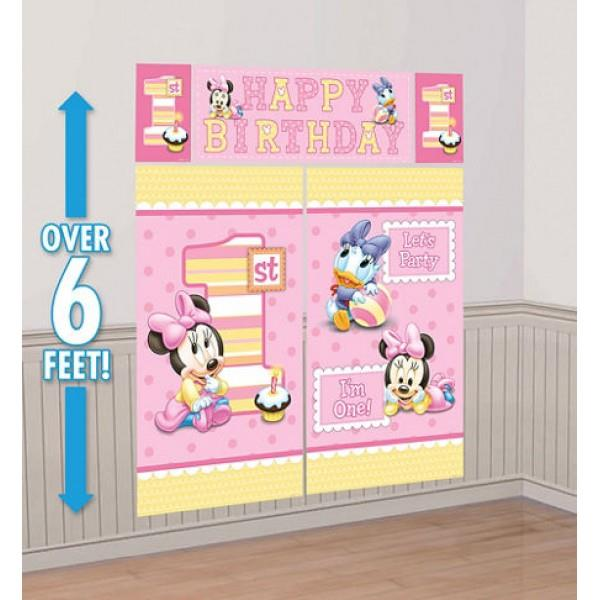 Baby Minnie Mouse Scene Setter Happy Birthday 6ft FREE GLUE DOTS