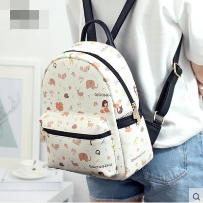 Backpack female shoulder bag cartoon printed bags