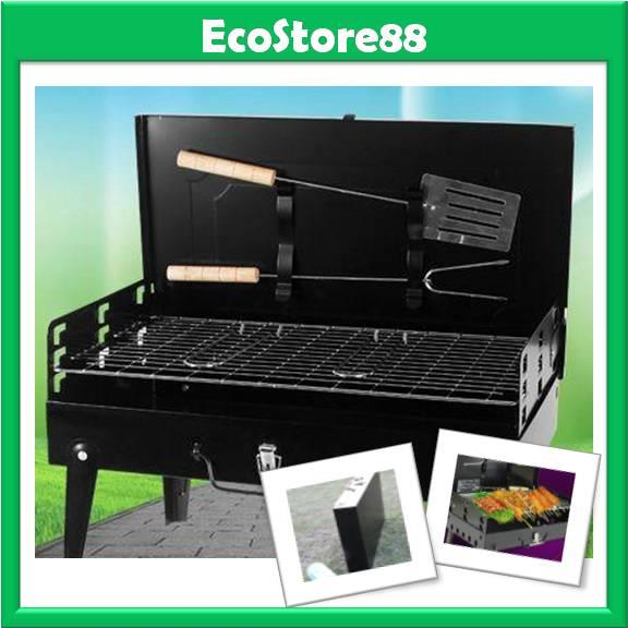 BBQ Grill Box Set + Utensils Outdoor Picnic Suitcase Grill Box