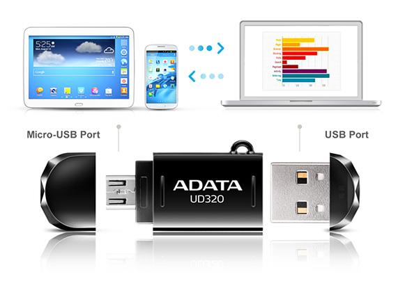 Bdotcom Adata 32GB DashDrive Durable UD320 USB Flash Drive Mobile OTG