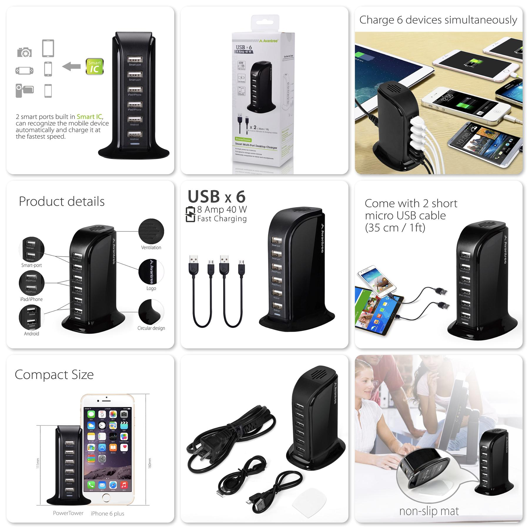 Bdotcom = Avantree PowerTower 6 ports Desktop USB Charging Stand