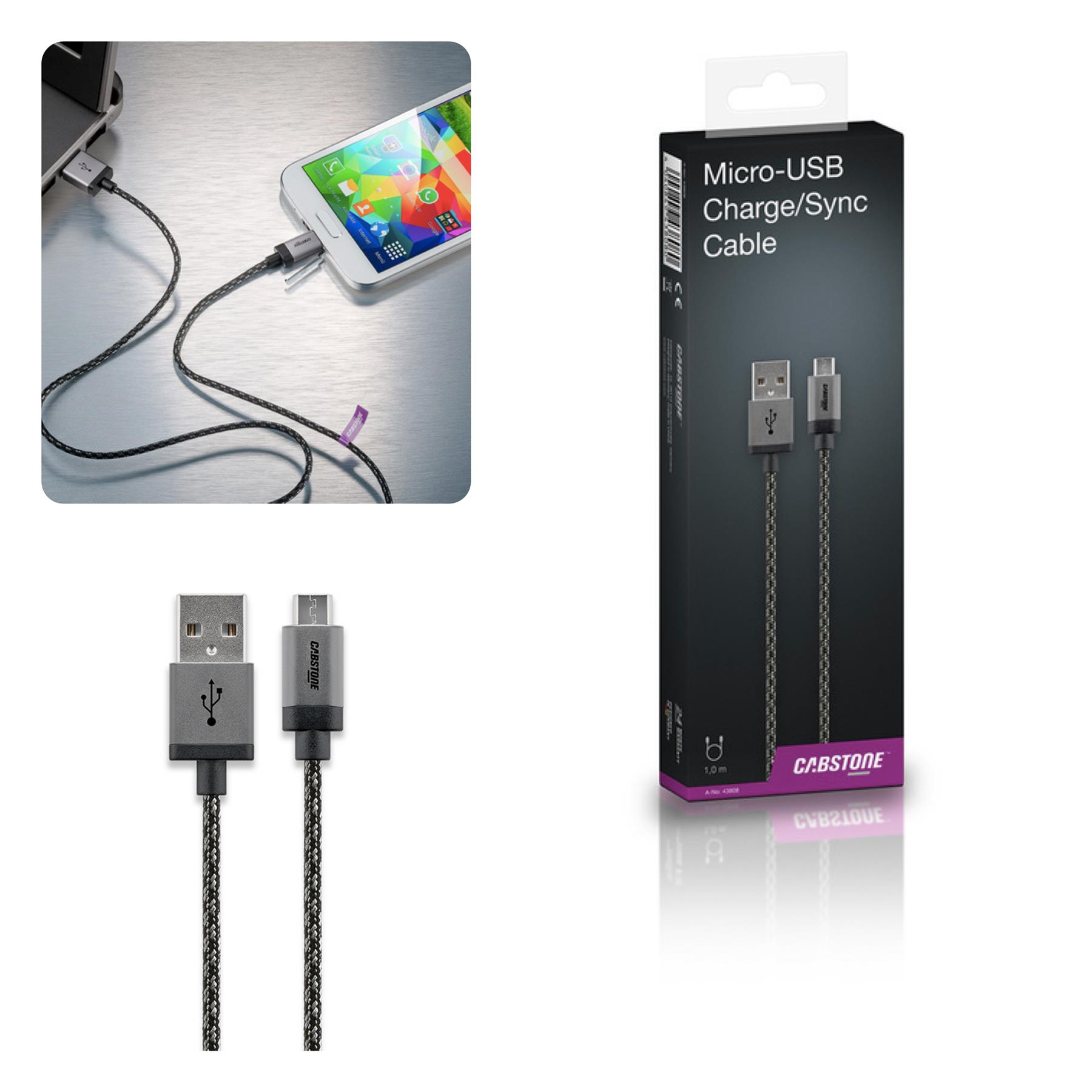 Bdotcom = Cabstone 1M Metal Sync and Charging Micro USB Cable