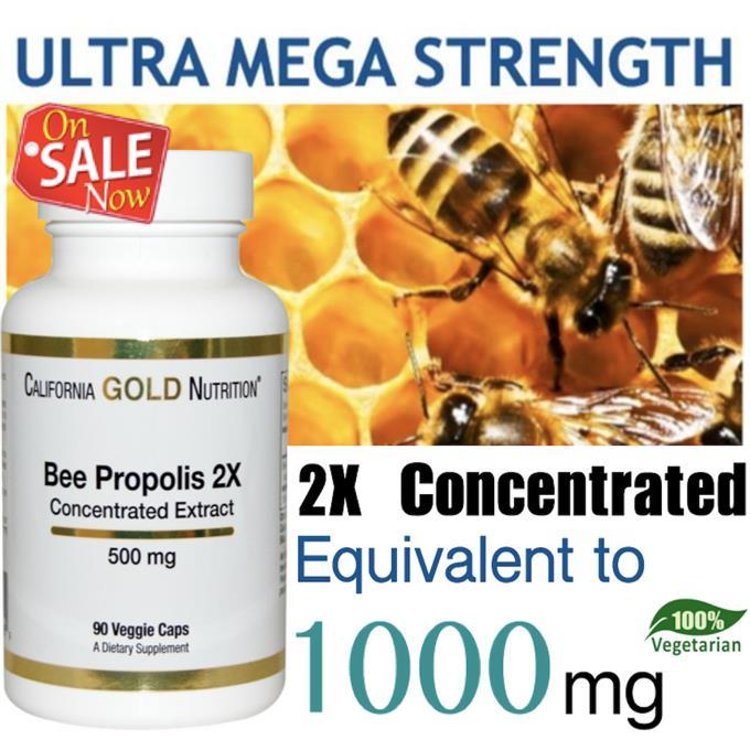 Bee Propolis 2x Extract, 1000mg, 90 Vcaps, 100% Vegetarian (USA)
