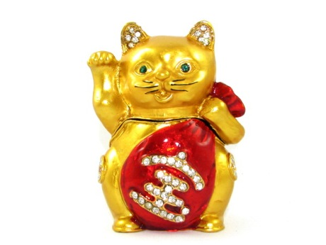 Bejeweled Wishfulfilling Fortune Cat to Attract Business Luck