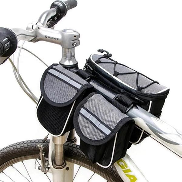 Bicycle 4 in 1 Frame Front Tube Saddle Bag with Rain Cover