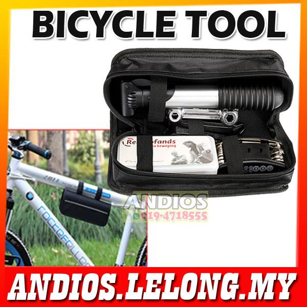 Bicycle Repair Set-Tool Kit-Air Pump Bag-Emergency-Mountain Bike