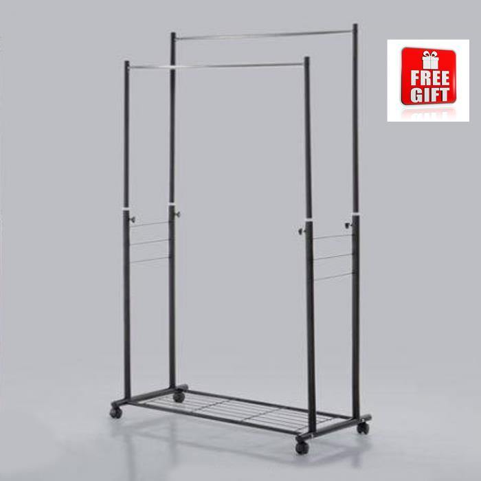 Big Durable Stainless Steel Adjustable Garment Rack With Mesh Storage