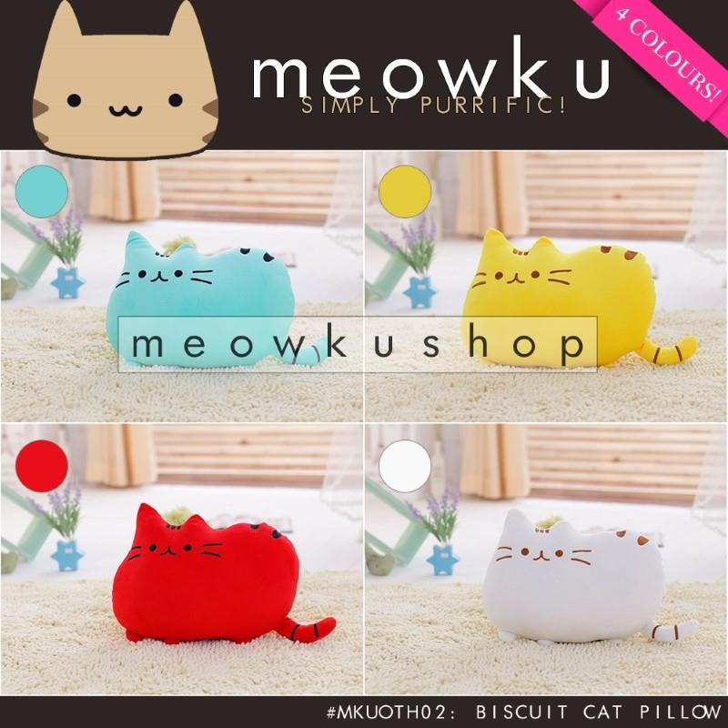 Biscuit Cat Pillow (Cute Free Cotton Filling Gift Bantal Kucing Comel)