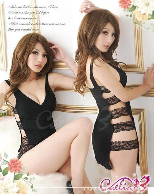 Black Babydoll Dress + G-string  Sleepwear Lingerie