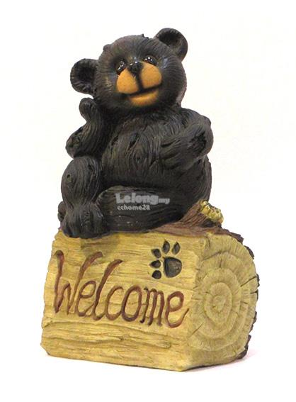 Black Bear With Welcome Plate - Home Decoration Figurine