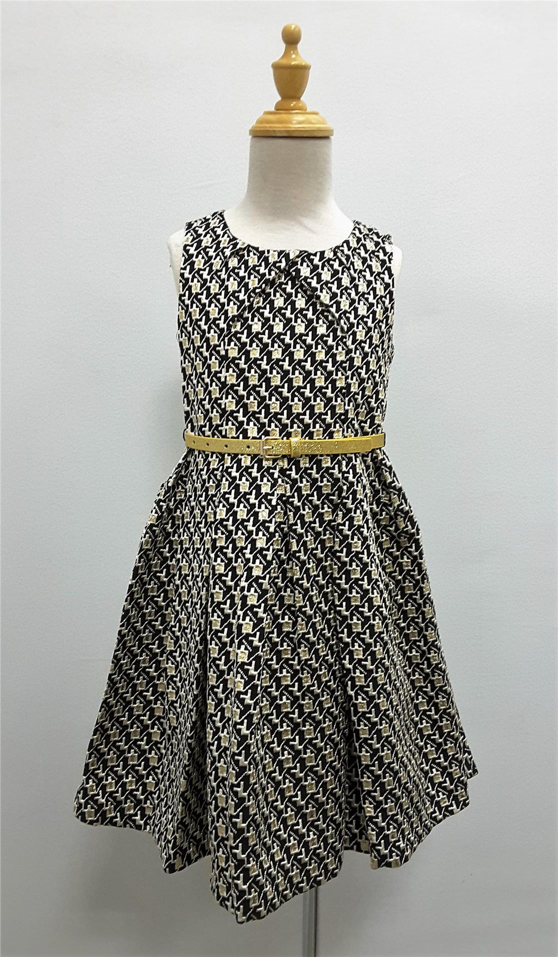 Black&Gold Abstract Design Dress w/Belt