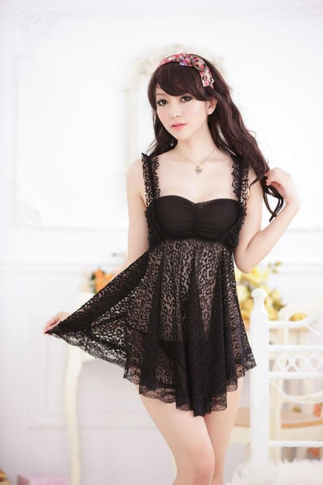 Black Lace Leopard Sling Babydoll Dress + G-string Sleepwear