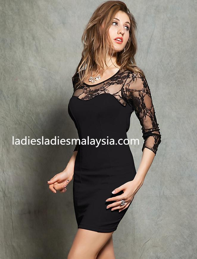 Black long sleeved elegant lace dress