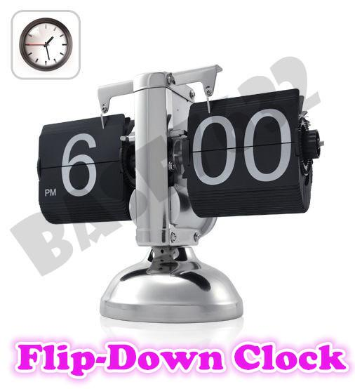 Black  Retro Auto Flip Down Clock Internal Gear Operated Home Office