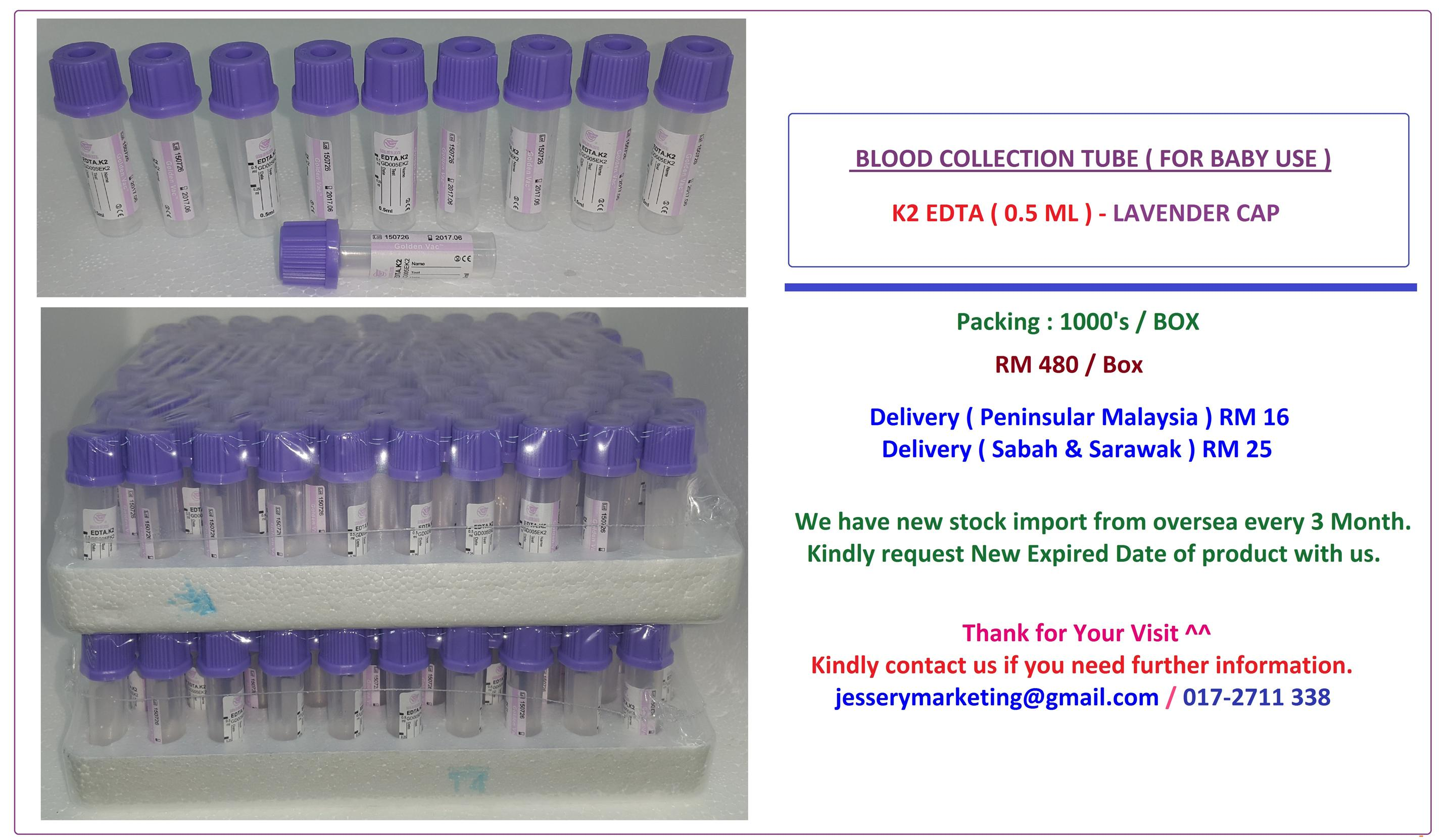 Blood Collection Tube ( K2 EDTA ) 0.5ML - 1000 Pcs