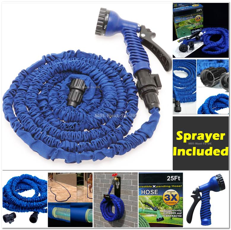 BLUE 25FT X Hose Highest Grade Double Layers Expandable 3x + Sprayer X