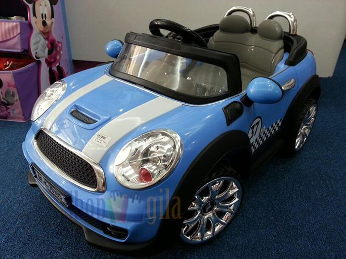 blue mini cooper style rechargeable battery powered car for kids
