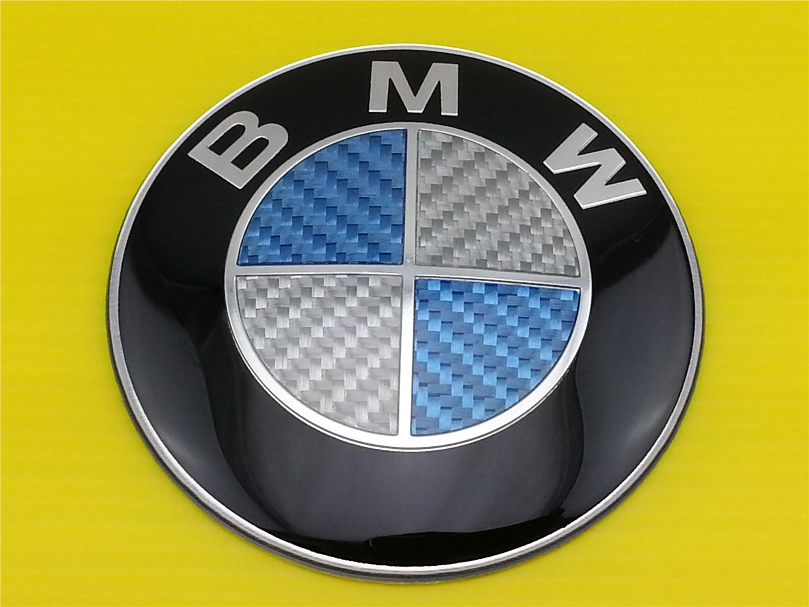 New Blue & White CARBON FIBER BMW EMBLEM LOGO FRONT OR REAR SIZE 82MM