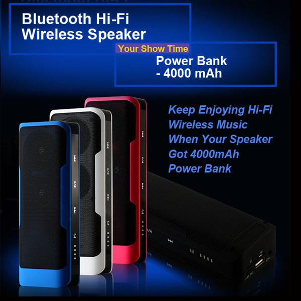 Bluetooth Hi-fi Speaker Power Bank 4000mAh