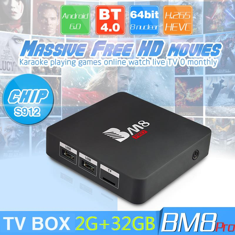BM8 Pro Mini TV box S912 ROM 2G+32G Android 6.0 WiFi Network HD player