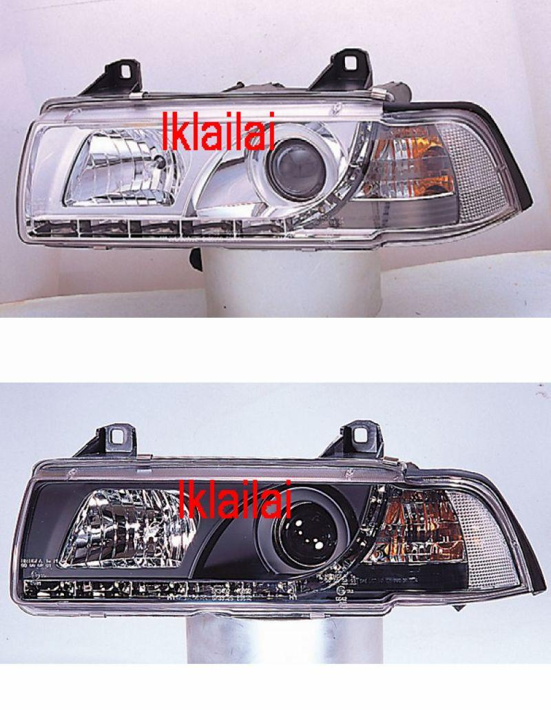 BMW E36 2D '91-97 Head Lamp Crystal Projector WRim [R8 Look]