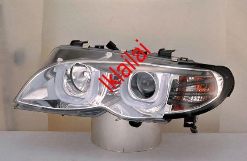 BMW E46 4D '02-05 U Style DRL Projector Head Lamp+Corner Lamp CHROME