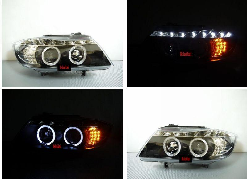 BMW E90 LED Ring Projector Head Lamp DRL with LED Corner Lamp