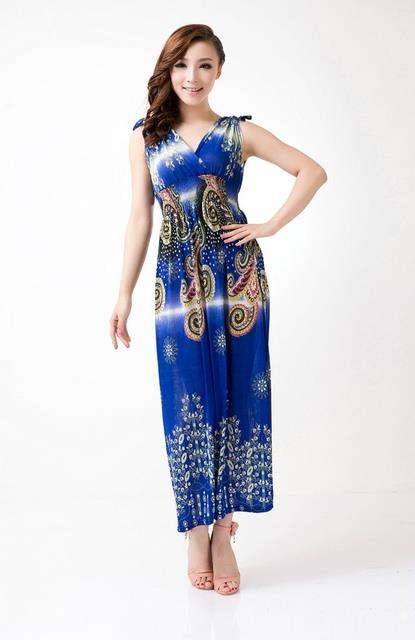 Bohemian Style Ice Silk V Long Dress (01)