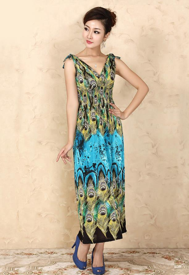 Bohemian Style Ice Silk V Long Dress (03)
