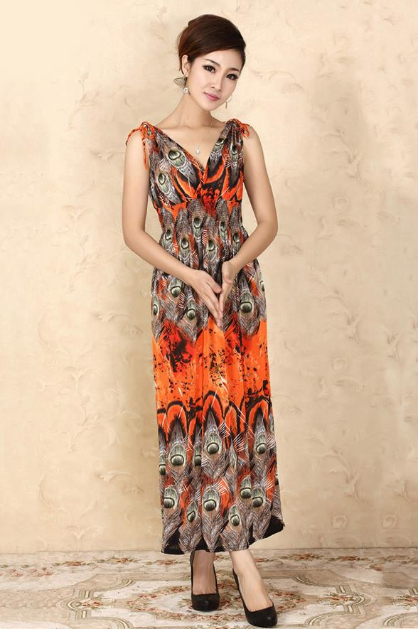 Bohemian Style Ice Silk V Long Dress (04)