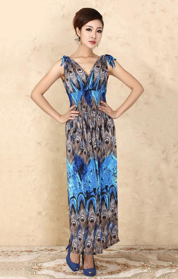 Bohemian Style Ice Silk V Long Dress (05)