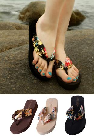 Bohemian Style Silk Well-heeled Thick Sandals