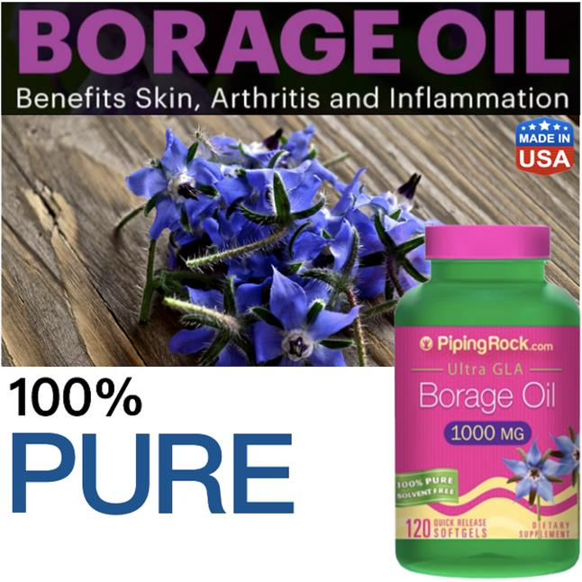 Borage Oil 1000 mg (GLA), 120 softgels 100% Pure (PMS, Menopause)