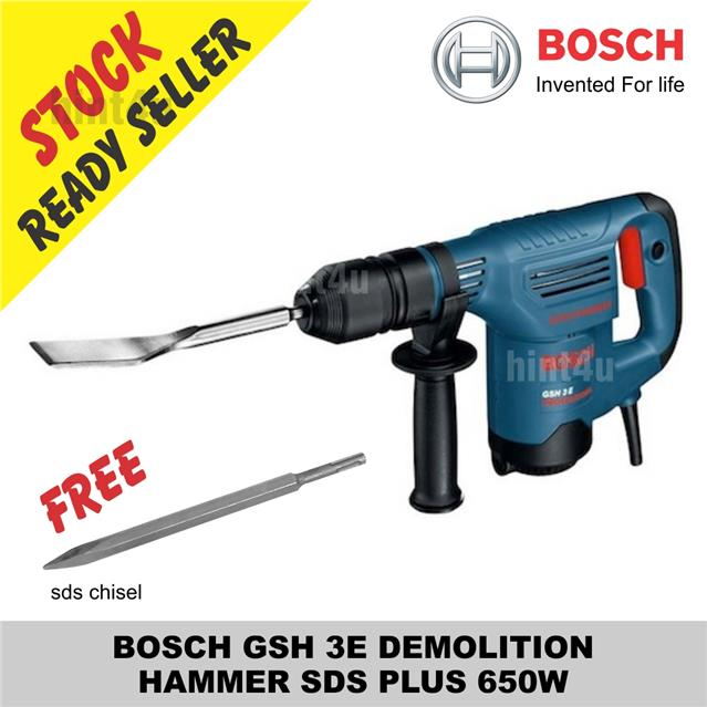 BOSCH GSH 3E DEMOLITION HAMMER SDS PLUS 650W Free sds chisel