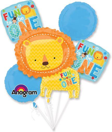 Boy's 1st Birthday Wild at One Lion Fun To Be One Balloon Bouquet