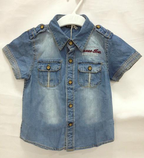 Boys Short-Sleeved Denim Button-Up Shirt for age 1-6 years old