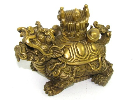 Brass Dragon Tortoise with Chinese Emperor's Hat for Examination Luck