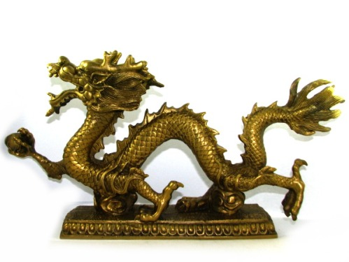 Brass Feng Shui Dragon Grasping Ball (XL) for Good Fortune Luck