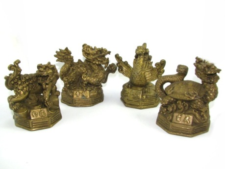 Brass Four Feng Shui Celestial Animals - Dragon, Phoenix, Tortoise and