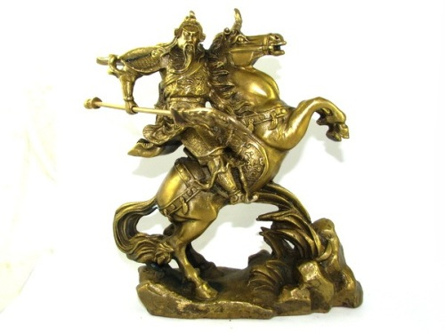 Brass Kwan Kong on Victory Horse (L) - Guan Gong for Business Luck