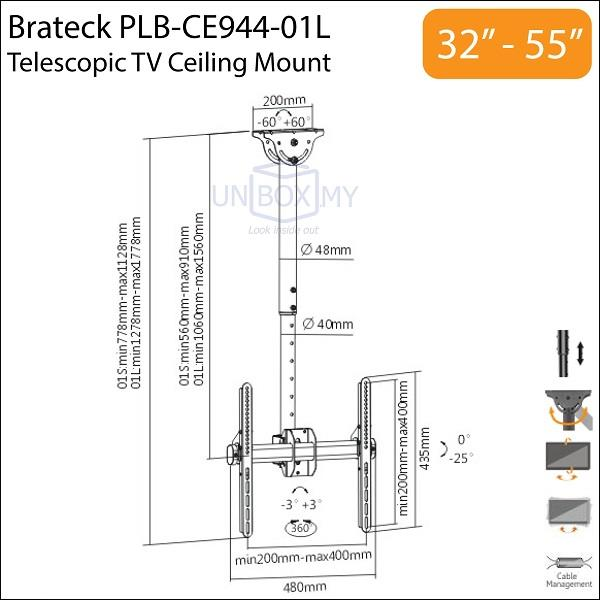 Brateck PLB-CE944-01L 32-55 inch Telescopic TV Ceiling Mount Bracket