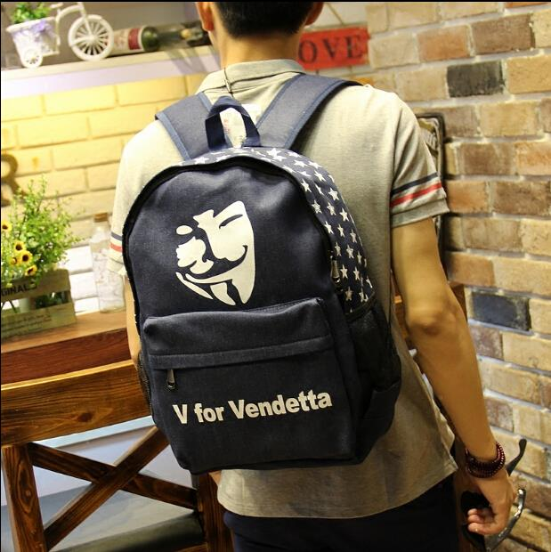 British men's casual canvas backpack