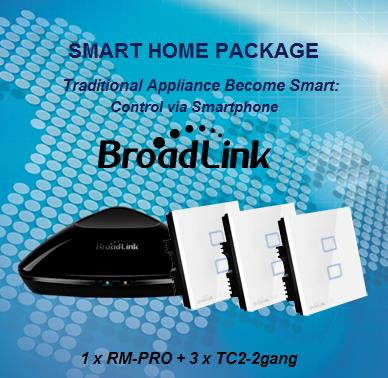 Broadlink Smart Home 1 RM-PRO + 3 E-Touch 2-Gang Switch